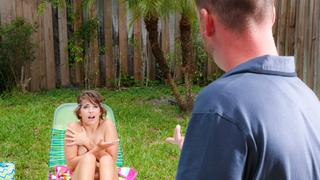 Bad girl get caught at his pool Thumbnail