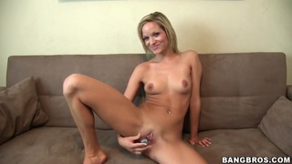 Sweet blonde babe is taking a big cock in her mouth Thumbnail