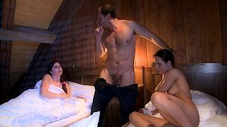 Exciting threesome sex with naughty females Thumbnail