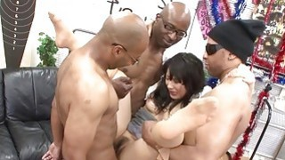 Three black men destroy the Asian sluts pussy Thumbnail