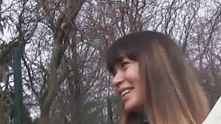 Kinky Russian blows outdoors for money Thumbnail