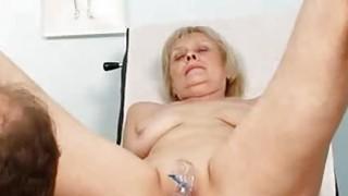 Elder grandma Brigita being muff inspected
