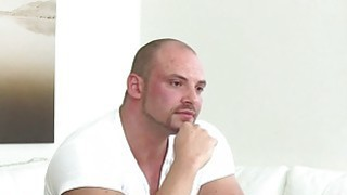 Czech bodybuilder bangs female agent in office Thumbnail