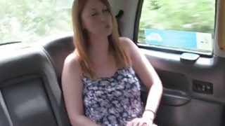 Natural busty Brit bangs in fake cab Thumbnail