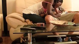Horny interracial couple spends day having intense sex in living room Thumbnail