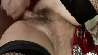 Horniest blonde busty granny in town fingering big hairy pussy for young dick partner Thumbnail