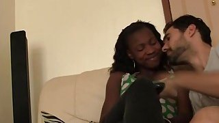 Horny white dude films his ebony girlfriend suking his large penis in a living room