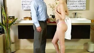 A delicious blonde Elsa Jean provides an unforgettable massage to a lucky man
