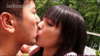 Marvelous Mihono Sakaguchi ready for a good romping outside Thumbnail