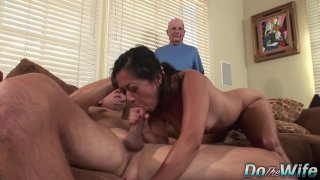 Asian Wife Lucky Starr Is Pounded by a Stranger as Her Husband Looks On Thumbnail