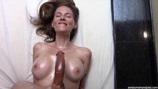 Beautiful MILF sucks and titty-fucks her black lovers monster cock