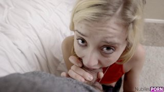Cute blonde teen knows what to do with large dick Thumbnail